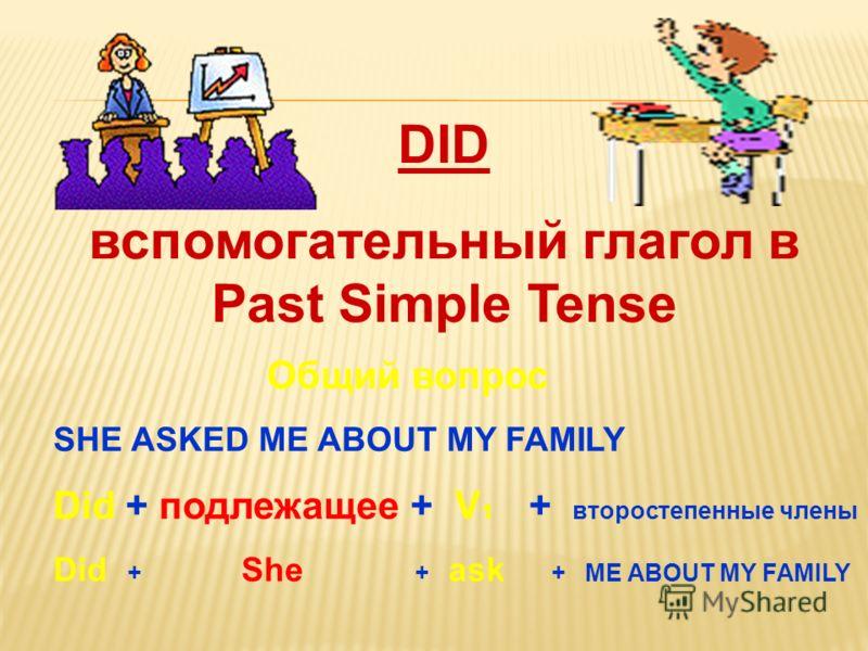 Общий вопрос SHE ASKED ME ABOUT MY FAMILY Did + подлежащее + V 1 + второстепенные члены Did + She + ask + ME ABOUT MY FAMILY DID вспомогательный глагол в Past Simple Tense