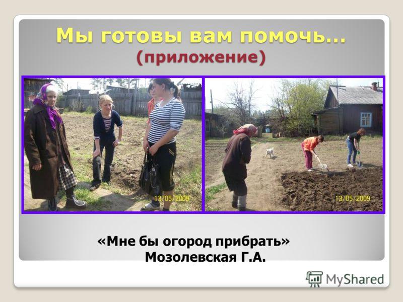 Мы готовы вам помочь… (приложение) «Мне бы огород прибрать» Мозолевская Г.А.