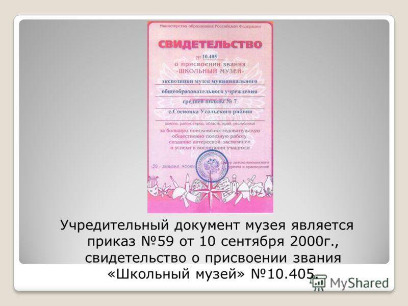 Учредительный документ музея является приказ 59 от 10 сентября 2000г., свидетельство о присвоении звания «Школьный музей» 10.405.