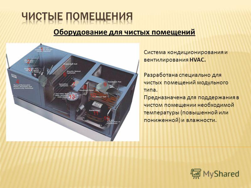 Оборудование для чистых помещений Система кондиционирования и вентилирования HVAC. Разработана специально для чистых помещений модульного типа. Предназначена для поддержания в чистом помещении необходимой температуры (повышенной или пониженной) и вла