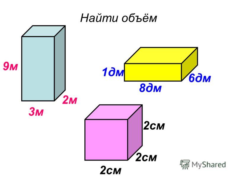 Найти объём 3м 1дм 9м 2м 6дм 8дм 2см