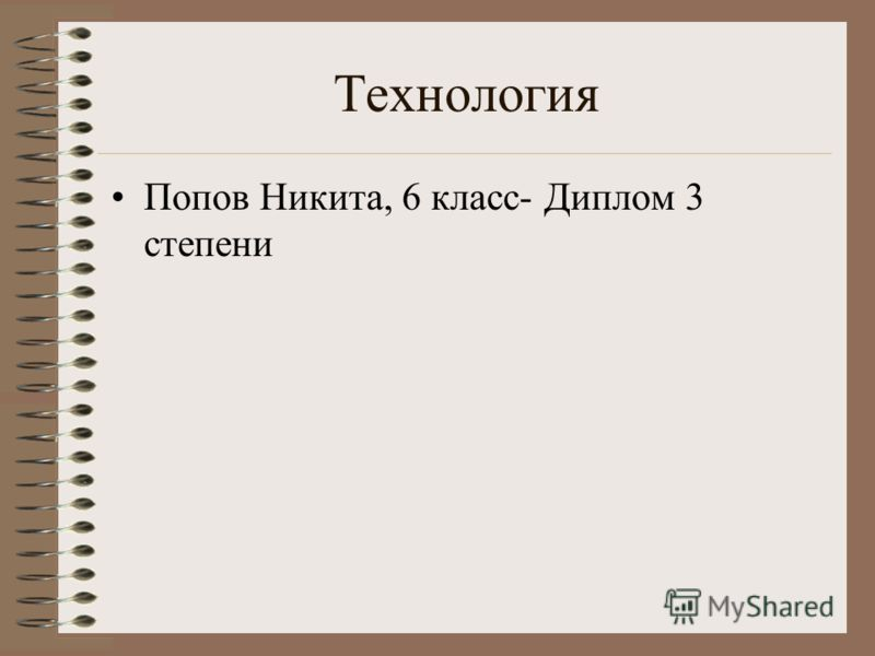 Технология Попов Никита, 6 класс- Диплом 3 степени
