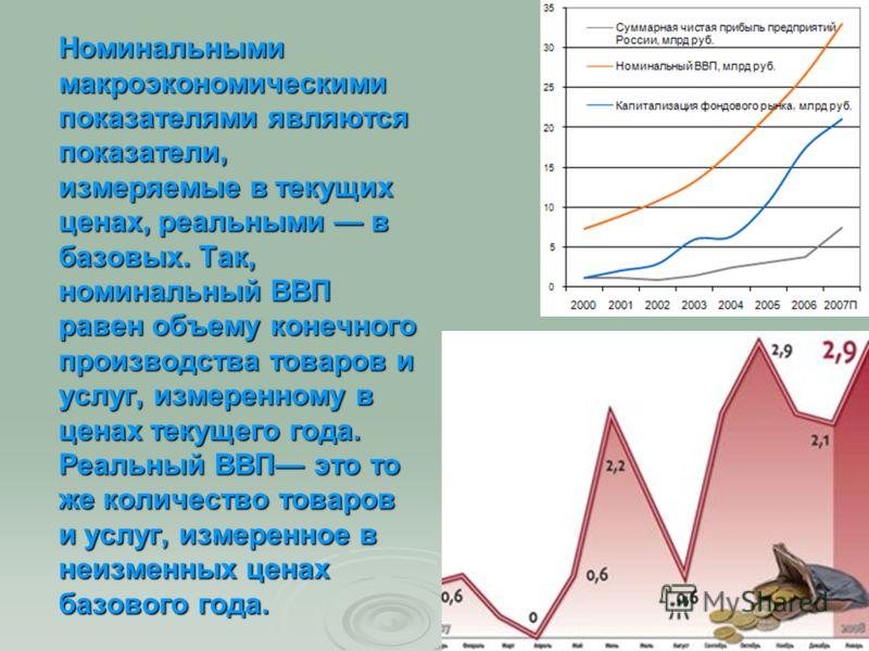 Номинальными макроэкономическими показателями являются показатели, измеряемые в текущих ценах, реальными в базовых. Так, номинальный ВВП равен объему конечного производства товаров и услуг, измеренному в ценах текущего года. Реальный ВВП это то же ко