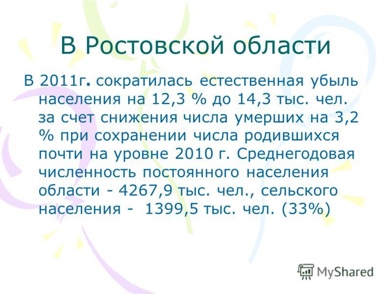 В Ростовской области В 2011г. сократилась естественная убыль населения на 12,3 % до 14,3 тыс. чел. за счет снижения числа умерших на 3,2 % при сохранении числа родившихся почти на уровне 2010 г. Среднегодовая численность постоянного населения области