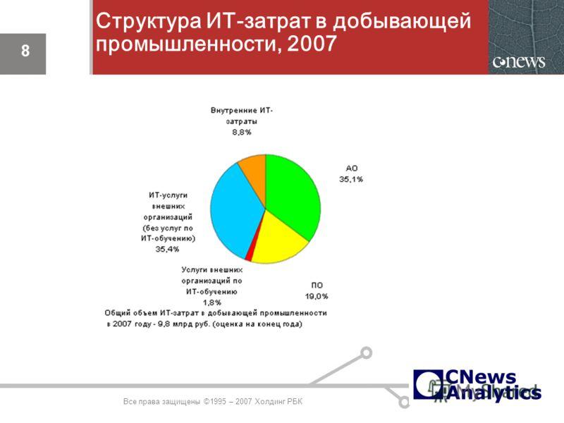 8 Структура ИТ-затрат в добывающей промышленности, 2007 8 Все права защищены ©1995 – 2007 Холдинг РБК