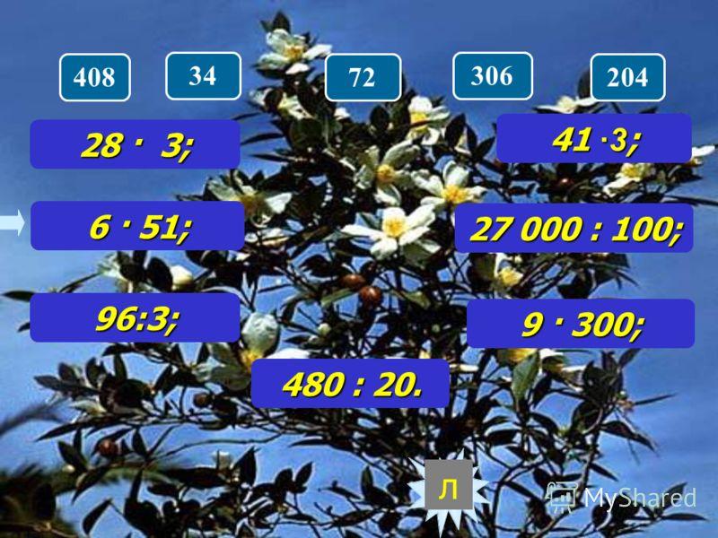 28 · 3; Расшифруйте название кустарника 6 · 51; 96:3; 480 : 20. 41 ·3 ; 27 000 : 100; 9 · 300; 868418288112
