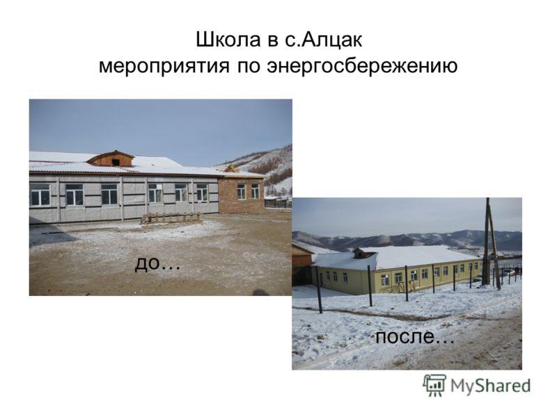 Школа в с.Алцак мероприятия по энергосбережению до… после…