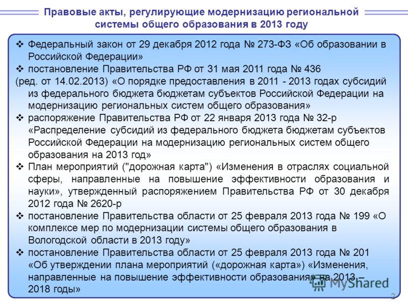 Федеральный закон от 29 декабря 2012 года 273-ФЗ «Об образовании в Российской Федерации» постановление Правительства РФ от 31 мая 2011 года 436 (ред. от 14.02.2013) «О порядке предоставления в 2011 - 2013 годах субсидий из федерального бюджета бюджет