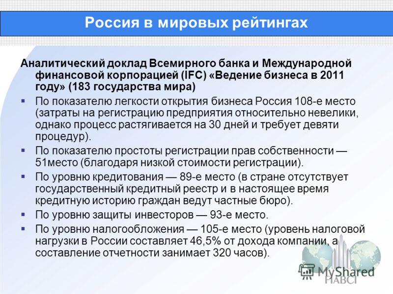 Россия в мировых рейтингах Аналитический доклад Всемирного банка и Международной финансовой корпорацией (IFC) «Ведение бизнеса в 2011 году» (183 государства мира) По показателю легкости открытия бизнеса Россия 108-е место (затраты на регистрацию пред