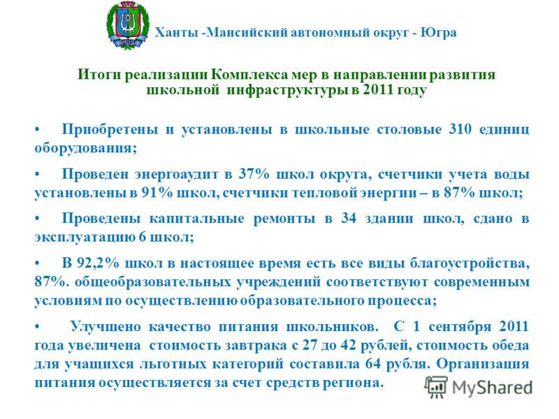 Ханты -Мансийский автономный округ - Югра Итоги реализации Комплекса мер в направлении развития школьной инфраструктуры в 2011 году Приобретены и установлены в школьные столовые 310 единиц оборудования; Проведен энергоаудит в 37% школ округа, счетчик