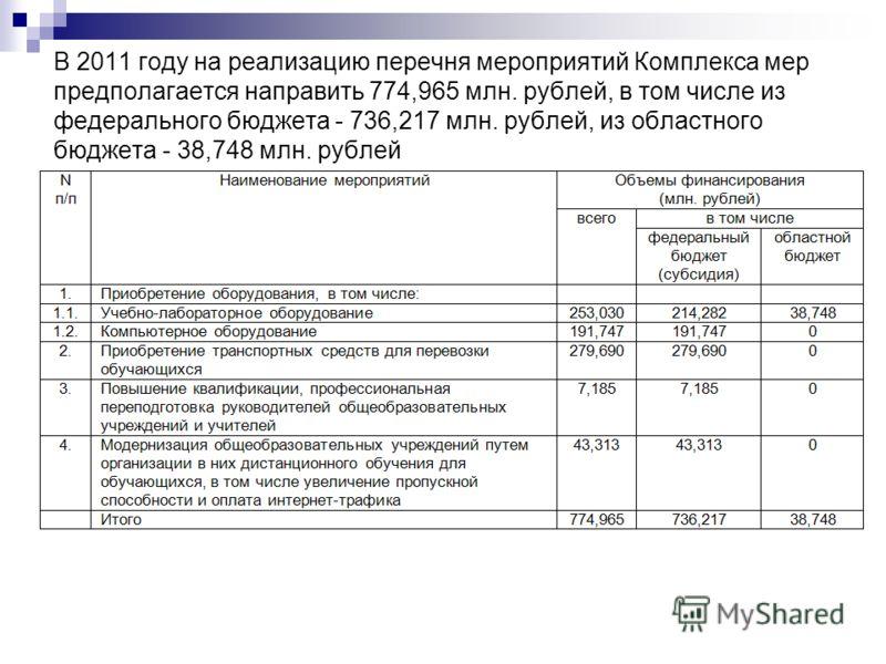 В 2011 году на реализацию перечня мероприятий Комплекса мер предполагается направить 774,965 млн. рублей, в том числе из федерального бюджета - 736,217 млн. рублей, из областного бюджета - 38,748 млн. рублей