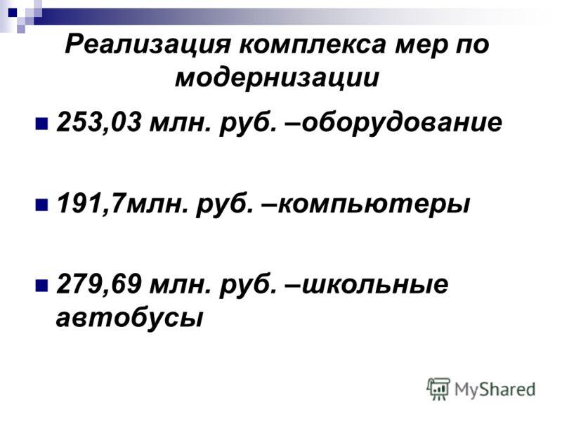 Реализация комплекса мер по модернизации 253,03 млн. руб. –оборудование 191,7млн. руб. –компьютеры 279,69 млн. руб. –школьные автобусы