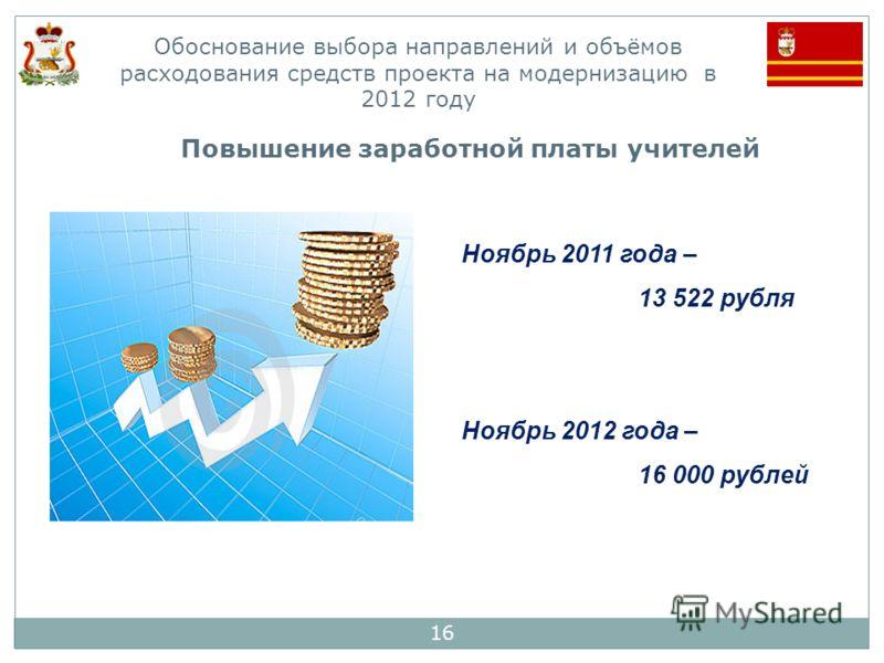 16 Обоснование выбора направлений и объёмов расходования средств проекта на модернизацию в 2012 году Ноябрь 2011 года – 13 522 рубля Ноябрь 2012 года – 16 000 рублей Повышение заработной платы учителей
