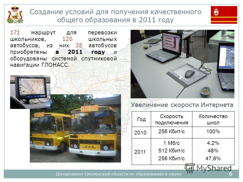 6 Департамент Смоленской области по образованию и науке Создание условий для получения качественного общего образования в 2011 году 171 маршрут для перевозки школьников, 120 школьных автобусов, из них 38 автобусов приобретены в 2011 году и оборудован
