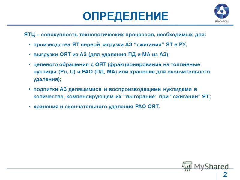 2 ОПРЕДЕЛЕНИЕ ЯТЦ – совокупность технологических процессов, необходимых для: производства ЯТ первой загрузки АЗ сжигания ЯТ в РУ; выгрузки ОЯТ из АЗ (для удаления ПД и МА из АЗ); целевого обращения с ОЯТ (фракционирование на топливные нуклиды (Pu, U)
