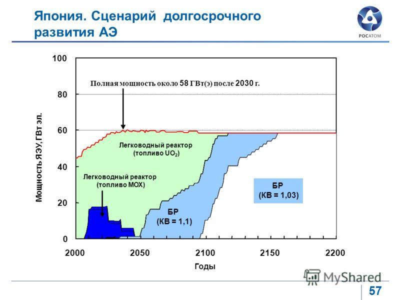 57 Япония. Сценарий долгосрочного развития АЭ 0 20 40 60 80 100 20002050210021502200 Мощность ЯЭУ, ГВт эл. Полная мощность около 58 ГВт(э) после 2030 г. Легководный реактор (топливо UO 2 ) Легководный реактор (топливо МОХ) БР (КВ = 1,1) FR (BR. 1.03)