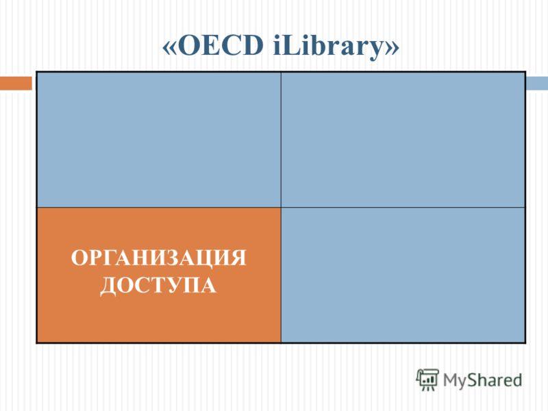 ОРГАНИЗАЦИЯ ДОСТУПА «OECD iLibrary»