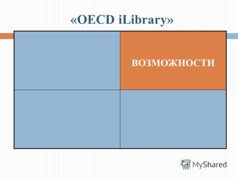 ВОЗМОЖНОСТИ «OECD iLibrary»