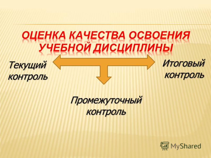Текущий контроль Промежуточный контроль Итоговый контроль