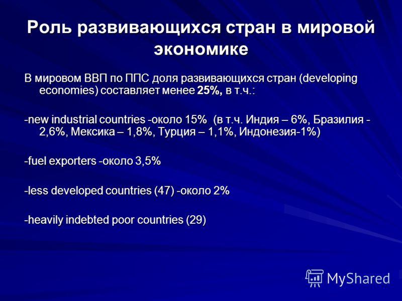 Роль развивающихся стран в мировой экономике В мировом ВВП по ППС доля развивающихся стран (developing economies) составляет менее 25%, в т.ч.: -new industrial countries -около 15% (в т.ч. Индия – 6%, Бразилия - 2,6%, Мексика – 1,8%, Турция – 1,1%, И