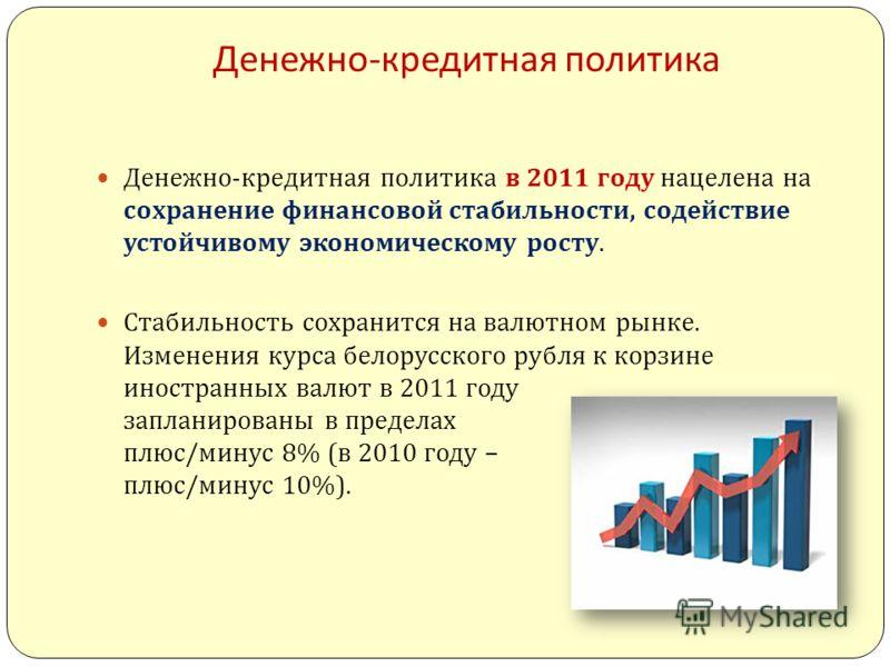 Денежно - кредитная политика Денежно - кредитная политика в 2011 году нацелена на сохранение финансовой стабильности, содействие устойчивому экономическому росту. Стабильность сохранится на валютном рынке. Изменения курса белорусского рубля к корзине