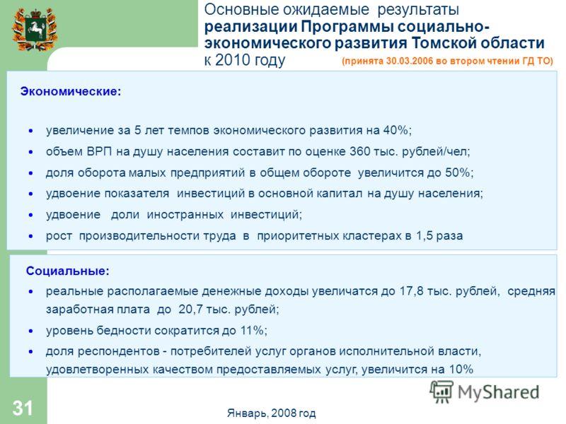 Январь, 2008 год 31 Основные ожидаемые результаты реализации Программы социально- экономического развития Томской области к 2010 году Экономические: увеличение за 5 лет темпов экономического развития на 40%; объем ВРП на душу населения составит по оц