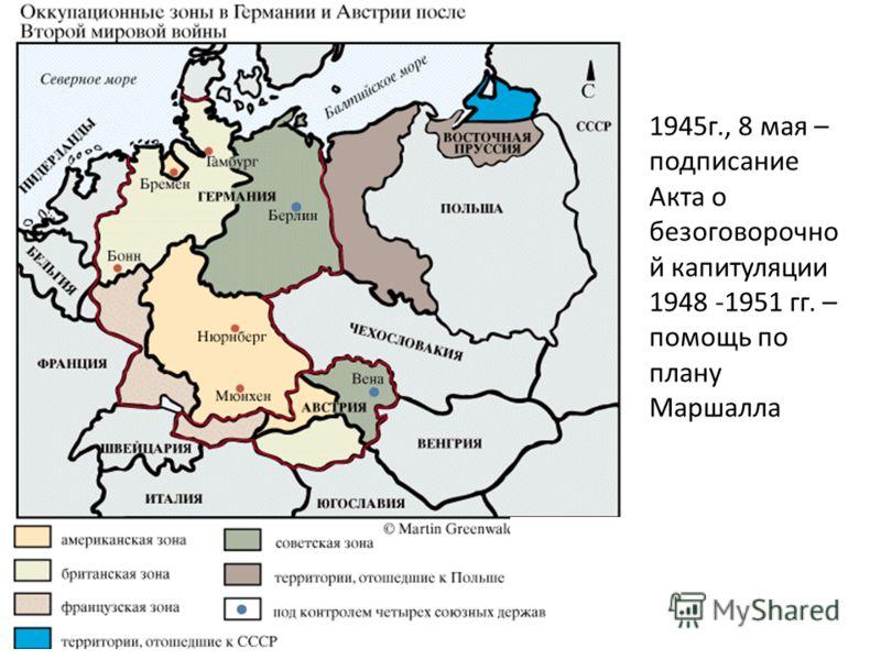 1945г., 8 мая – подписание Акта о безоговорочно й капитуляции 1948 -1951 гг. – помощь по плану Маршалла
