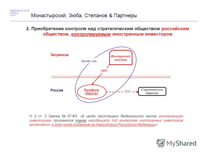 2. Приобретение контроля над стратегическим обществом российским обществом, контролируемым иностранным инвестором Ч. 2 ст. 3 Закона 57-ФЗ: «В целях настоящего Федерального закона иностранными инвесторами признаются также находящиеся под контролем ино
