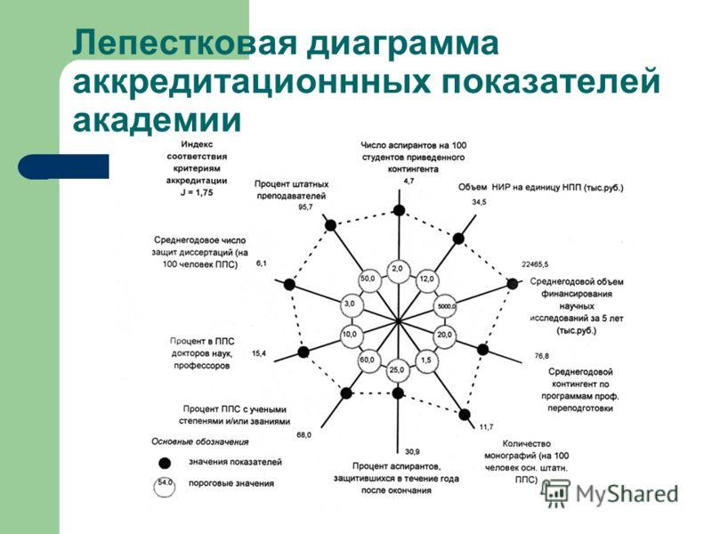 Лепестковая диаграмма аккредитационнных показателей академии