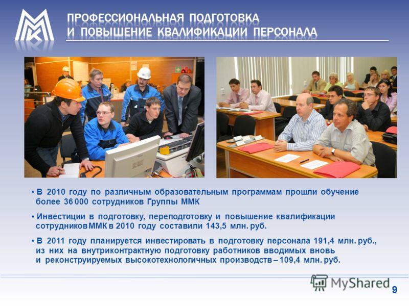 В 2010 году по различным образовательным программам прошли обучение более 36 000 сотрудников Группы ММК Инвестиции в подготовку, переподготовку и повышение квалификации сотрудников ММК в 2010 году составили 143,5 млн. руб. В 2011 году планируется инв