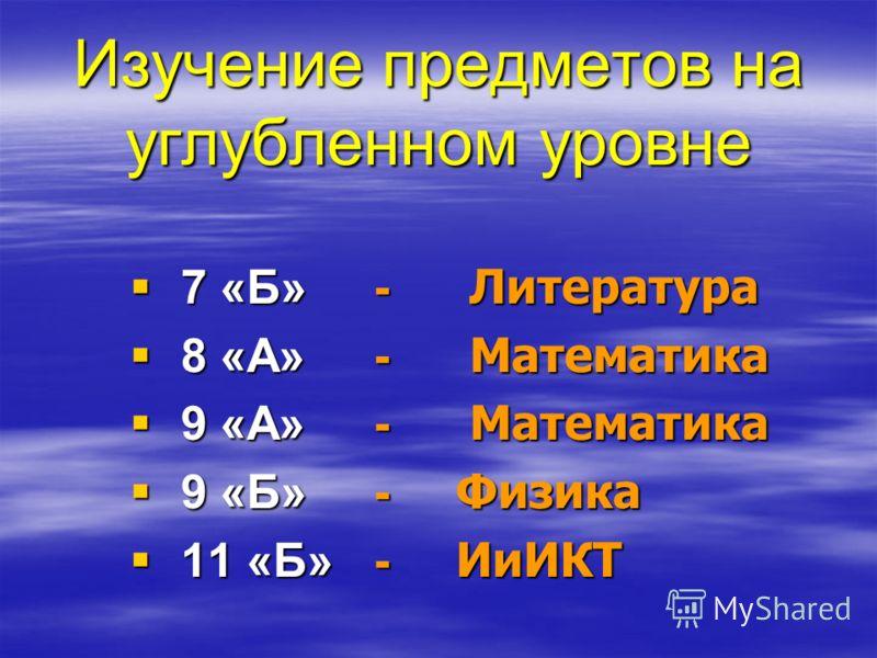 Изучение предметов на углубленном уровне 7 «Б» - Литература 7 «Б» - Литература 8 «А» - Математика 8 «А» - Математика 9 «А» - Математика 9 «А» - Математика 9 «Б» - Физика 9 «Б» - Физика 11 «Б» - ИиИКТ 11 «Б» - ИиИКТ