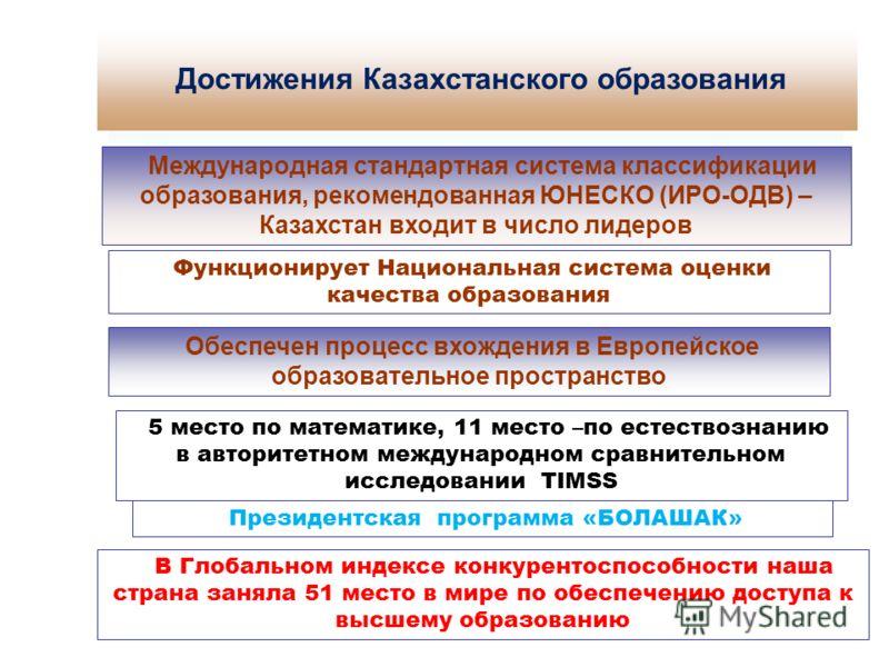 Сущность компетентностного подхода в образовании Международная стандартная система классификации образования, рекомендованная ЮНЕСКО (ИРО-ОДВ) – Казахстан входит в число лидеров Функционирует Национальная система оценки качества образования Обеспечен