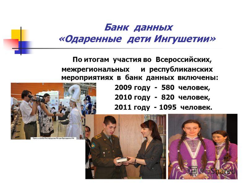 Банк данных «Одаренные дети Ингушетии» По итогам участия во Всероссийских, межрегиональных и республиканских мероприятиях в банк данных включены: 2009 году - 580 человек, 2010 году - 820 человек, 2011 году - 1095 человек.