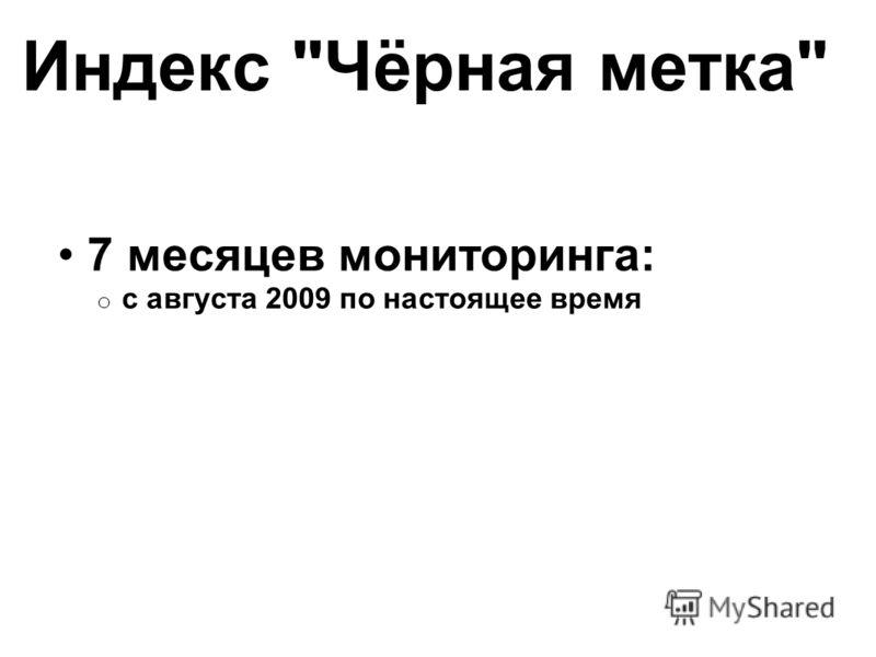 Индекс Чёрная метка 7 месяцев мониторинга: o с августа 2009 по настоящее время