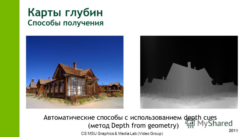 2011 Карты глубин Способы получения CS MSU Graphics & Media Lab (Video Group) Автоматические способы с использованием depth cues (метод Depth from geometry)