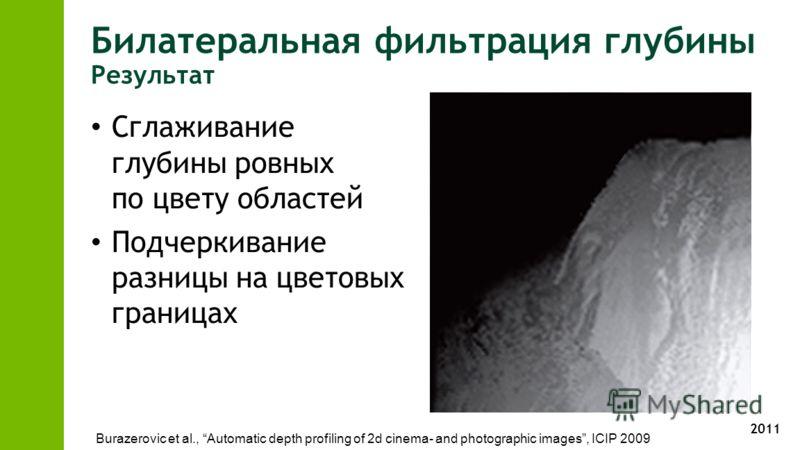 2011 Сглаживание глубины ровных по цвету областей Подчеркивание разницы на цветовых границах Burazerovic et al., Automatic depth profiling of 2d cinema- and photographic images, ICIP 2009 Билатеральная фильтрация глубины Результат