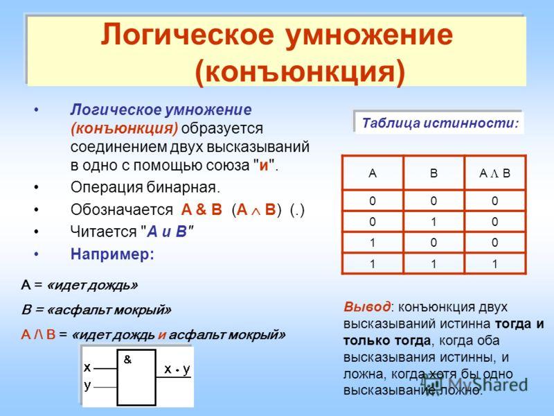 Логическое умножение (конъюнкция) Логическое умножение (конъюнкция) образуется соединением двух высказываний в одно с помощью союза
