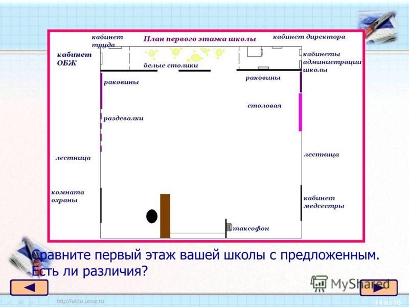 14 из 16 к Сравните первый этаж вашей школы с предложенным. Есть ли различия?