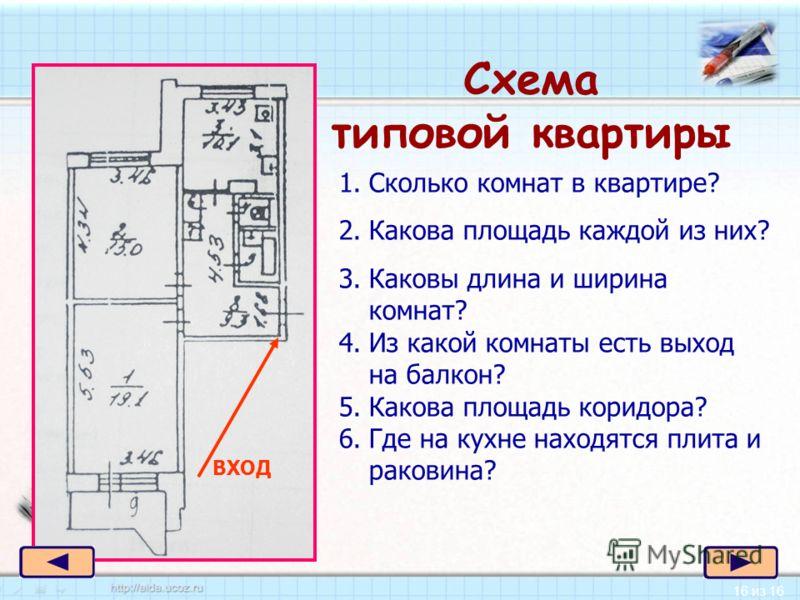 16 из 16 Схема типовой квартиры ВХОД 1.Сколько комнат в квартире? 2.Какова площадь каждой из них? 3.Каковы длина и ширина комнат? 4.Из какой комнаты есть выход на балкон? 5.Какова площадь коридора? 6.Где на кухне находятся плита и раковина?