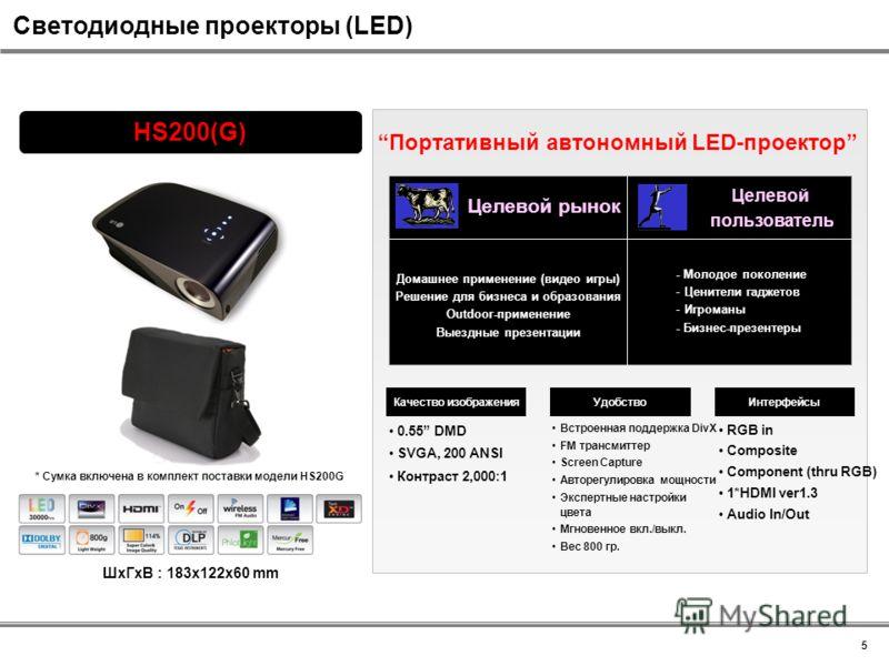 RGB in Composite Component (thru RGB) 1*HDMI ver1.3 Audio In/Out Встроенная поддержка DivX FM трансмиттер Screen Capture Авторегулировка мощности Экспертные настройки цвета Мгновенное вкл./выкл. Вес 800 гр. 0.55 DMD SVGA, 200 ANSI Контраст 2,000:1 HS
