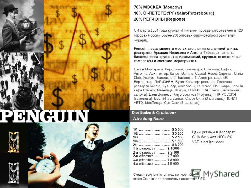 C 4 марта 2004 года журнал «Пингвин» продаётся более чем в 120 городах России. Более 250 оптовых фирм-распространителей журнала. Цены указаны в долларах США без учета НДС-18% VAT is not included> 1/1 ………………………. $ 5 500 1/2 ………………………. $ 3 200 1/3 …………