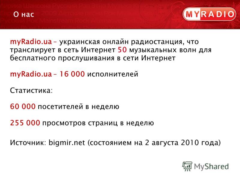 myRadio.ua – украинская онлайн радиостанция, что транслирует в сеть Интернет 50 музыкальных волн для бесплатного прослушивания в сети Интернет myRadio.ua – 16 000 исполнителей Статистика: 60 000 посетителей в неделю 255 000 просмотров страниц в недел