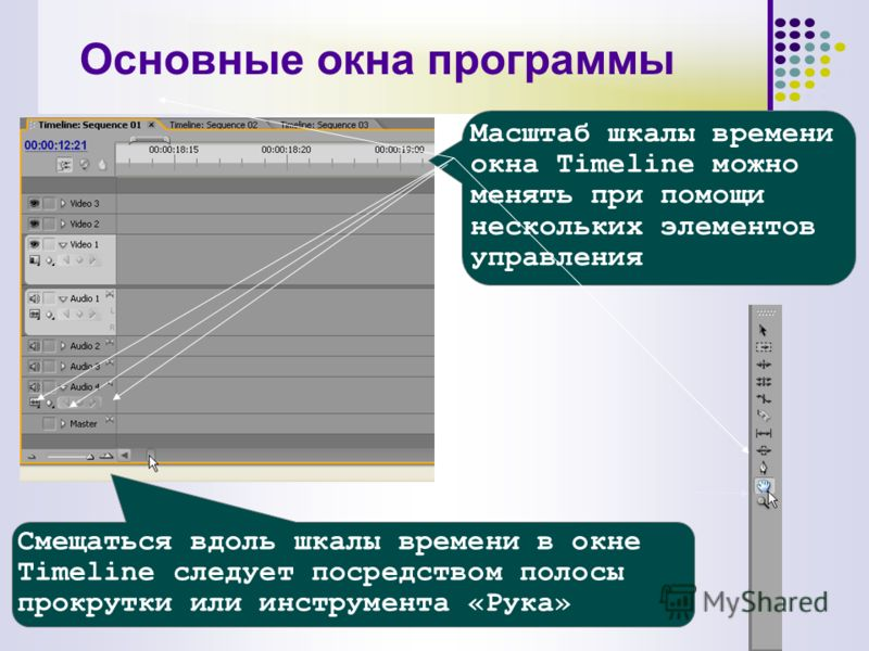 Смещаться вдоль шкалы времени в окне Timeline следует посредством полосы прокрутки или инструмента «Рука» Масштаб шкалы времени окна Timeline можно менять при помощи нескольких элементов управления Основные окна программы