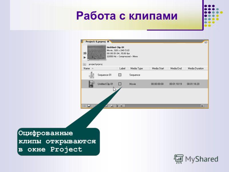 Оцифрованные клипы открываются в окне Project Работа с клипами