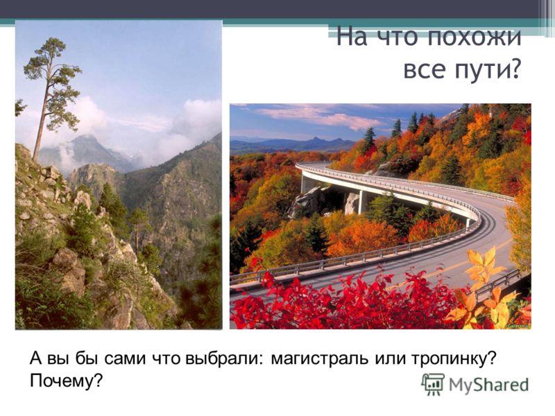 На что похожи все пути? А вы бы сами что выбрали: магистраль или тропинку? Почему?