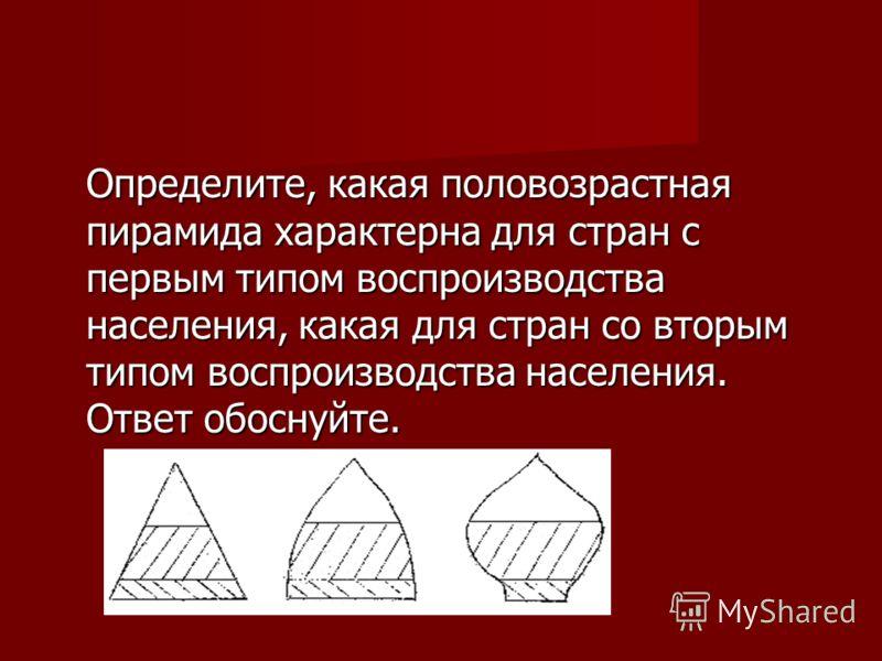 Определите, какая половозрастная пирамида характерна для стран с первым типом воспроизводства населения, какая для стран со вторым типом воспроизводства населения. Ответ обоснуйте.