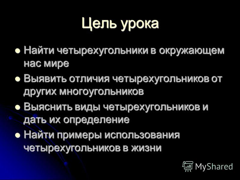 Четырехугольники вокруг нас Учитель физики и математики Афанасьевской СОШ Шевченко Н.Н.