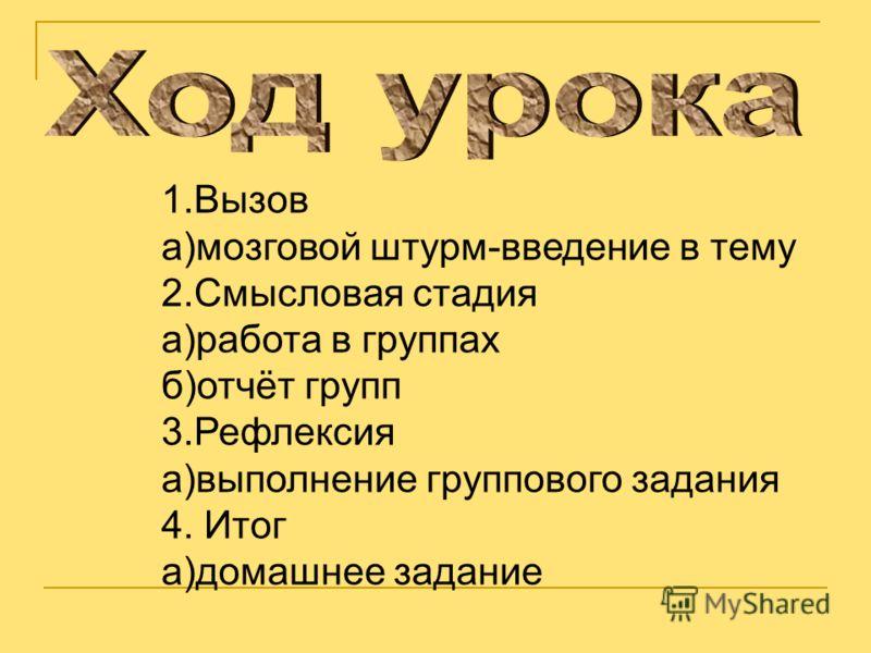 1.Вызов а)мозговой штурм-введение в тему 2.Смысловая стадия а)работа в группах б)отчёт групп 3.Рефлексия а)выполнение группового задания 4. Итог а)домашнее задание