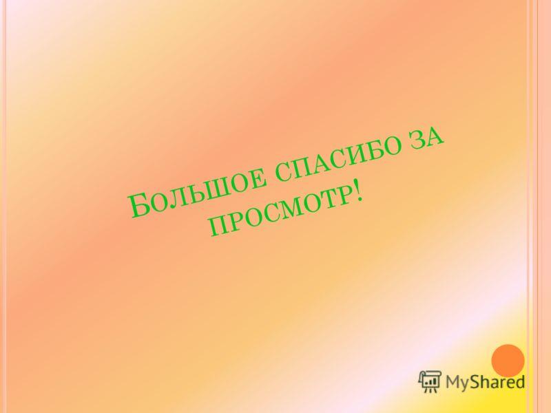 Б ОЛЬШОЕ СПАСИБО ЗА ПРОСМОТР !
