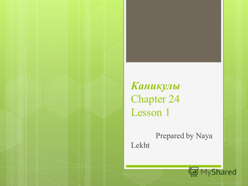 Каникулы Chapter 24 Lesson 1 Prepared by Naya Lekht